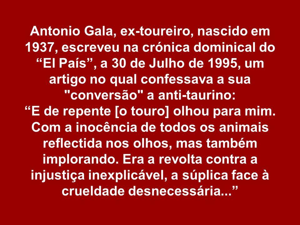 Antonio Gala, ex-toureiro, nascido em 1937, escreveu na crónica dominical do El País , a 30 de Julho de 1995, um artigo no qual confessava a sua conversão a anti-taurino: E de repente [o touro] olhou para mim.